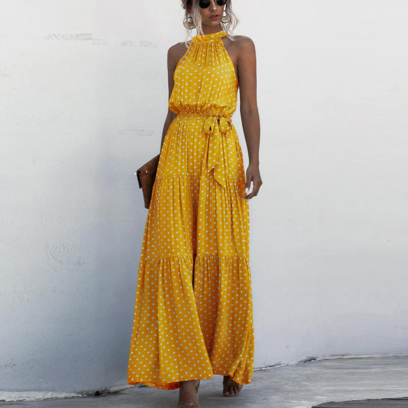 Yellow Wave Bohemian Boho Printed Hanging Neck Straps Maxi Dresses