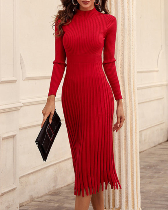 Knit Round Neck Long Sleeve Sweater Midi Dresses Red
