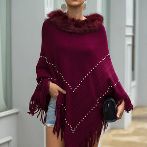 Tassel Fringed Pullover Bead Fur Collar Sweater Cloak Shawl Cape