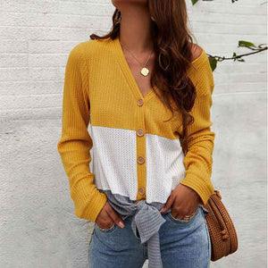 Women's Casual V-neck Single-Breasted Cardigan Sweater