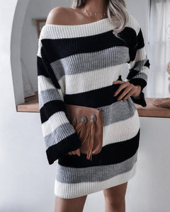 Casual One Shoulder Contrast Stripe Sweater Mini Dresses
