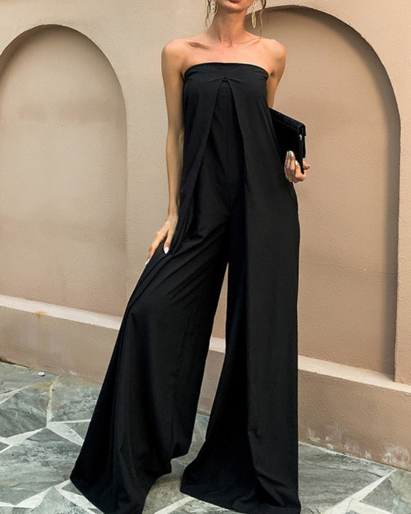 Tube Top Wide Leg Party Pocket Backless Zipper Jumpsuit Black