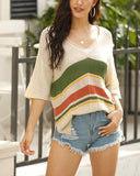 V-neck Contrast Stripe Knitted Beach Sweater Pullover