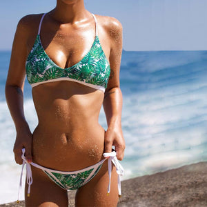 Fashion  Leaves Printed Strappy  Swimwear
