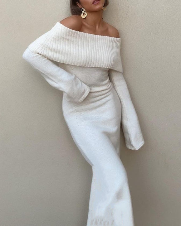 High Collar Off Shoulder Knit Sweater Midi Dresses