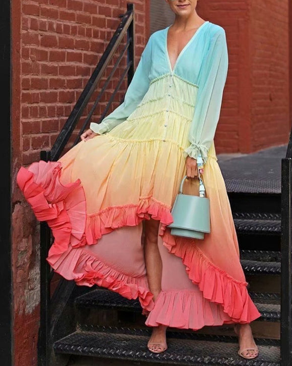 Rainbow Deep V Long Sleeve Gradient Vacation Maxi Dresses