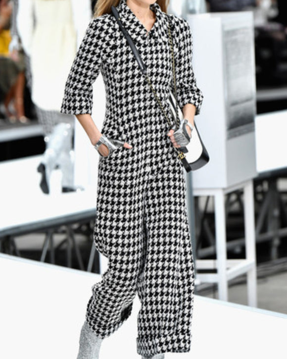 Casual Vintage Pile Collar Houndstooth Jumpsuits