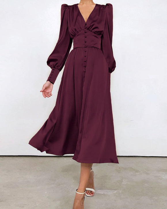 Lantern Bubble Sleeve Satin Midi Dresses Burgundy