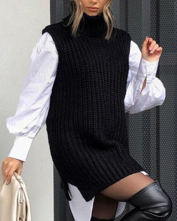 High Heap Collar Knit Vest Sweaters Black
