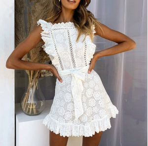White Embroidered Lace Flower Seeveless Bodycon Mini Dresses