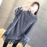 Tassel Hem Fur Collar Pullover Sweater Cloak Shawl Cape