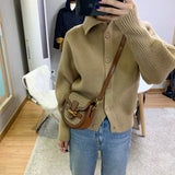 Single-breasted Vintage Lapel Sweater Outerwear