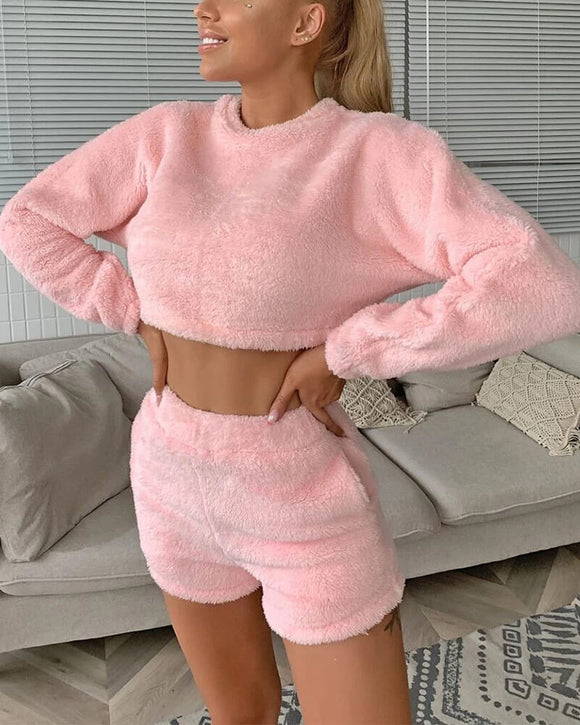 Plush Short Loungewear Two-piece Suit Set