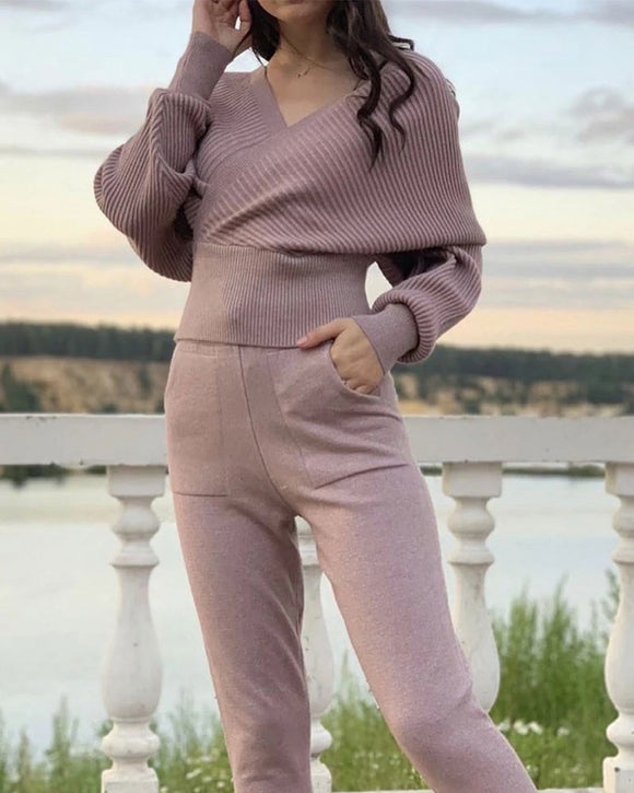 Sexy Multicolor Strapless Sweater Knit Sports Suit - Nowachic.com