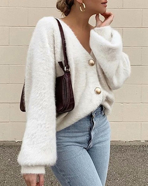Single-breasted Deep V-neck Puff Sleeve Knitting Cardigan