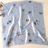 Butterfly Print Silk Scarf Silky Shawl Wrap for Women Ladies Girls 90x180