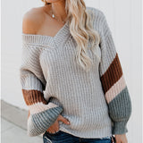 Women's V Neck Stripe Splicing Lantern Sleeve Sweater