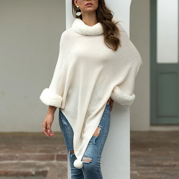 Pullover Pompom Fur Collar Sleeves Sweater Cloak Shawl Cape