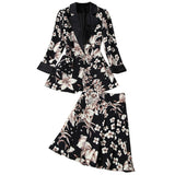 Elegant Printing Single Button Elastic Waist Suit Mini Pleated Skirt Two-piece Set