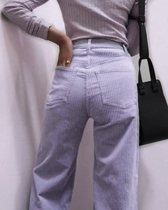 Corduroy Zipper Pocket Straight Pants