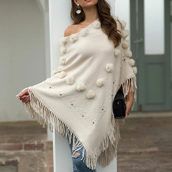 Tassel Fringed Pullover Bead Pompom Collar Sweater Cloak Shawl Cape