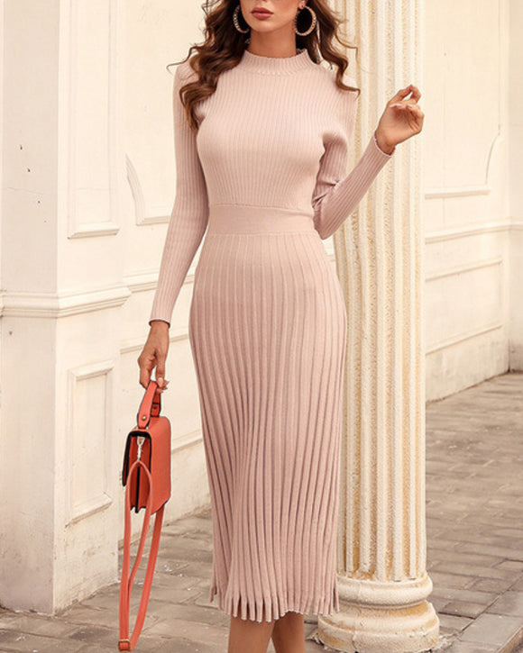 Knit Round Neck Long Sleeve Sweater Midi Dresses Apricot