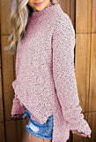 Women's Round Neck Long Sleeve Side Split Sweater