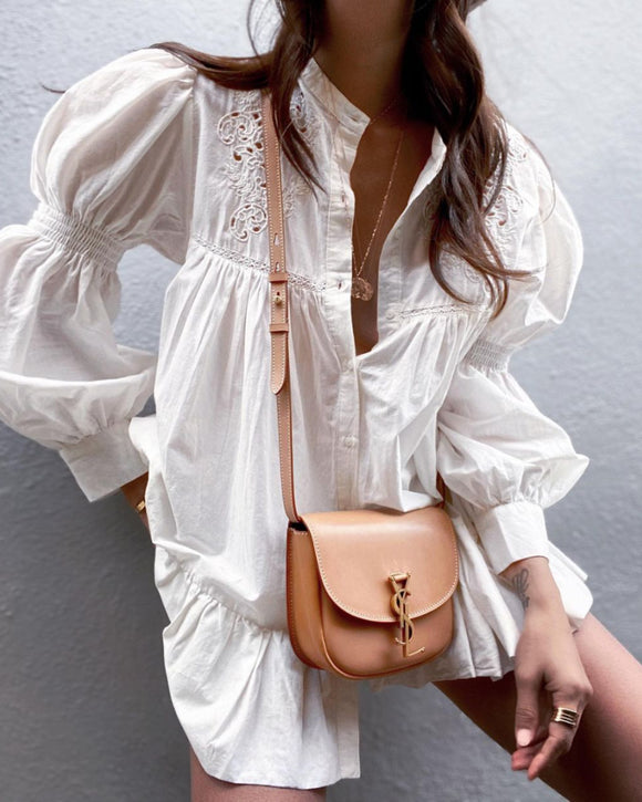 Puff Sleeve Hollow-out Ruffled Single-breasted Shirts Blouses