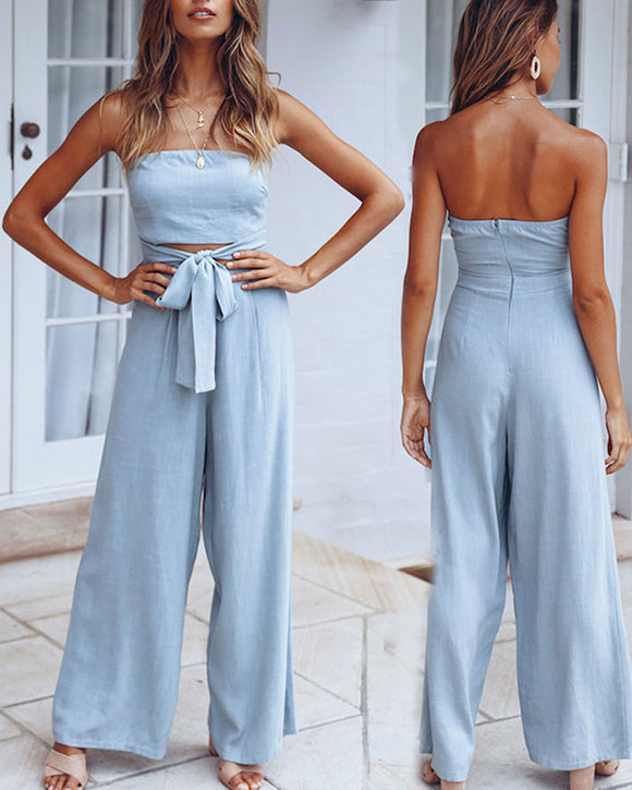 Strapless Tube Top Lace-up Jumpsuit Loose Pants Exposed Navel Rompers