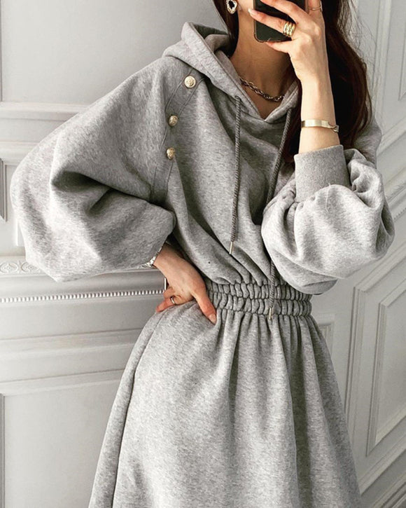 Puff Sleeve Hooded Hoodies Sweatshirts Coat Midi Dresses
