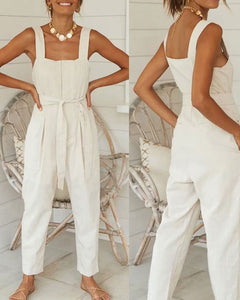 Cotton And Line Lace-up Overalls Jumpsuit Rompers