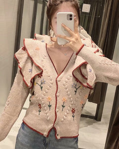 Ruffled Floral Knit V-neck Single-breasted Sweaters Cardigans