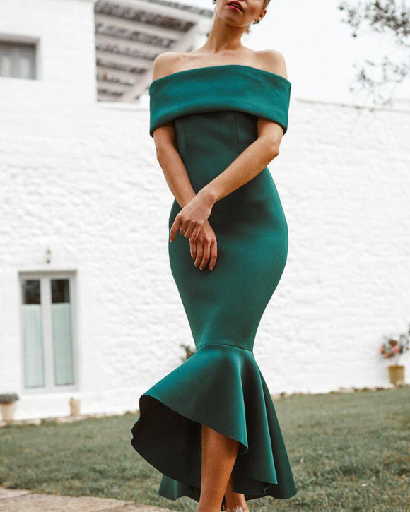 Off Shoulder Bodycon Fishtail Strapless Maxi Midi Dresses Green
