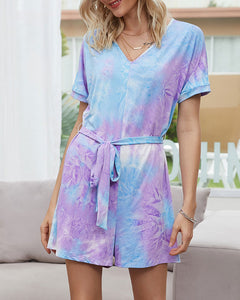 Women's Tie-Dye Jumpsuit Short Sleeve T-Shirt Home Loungewear