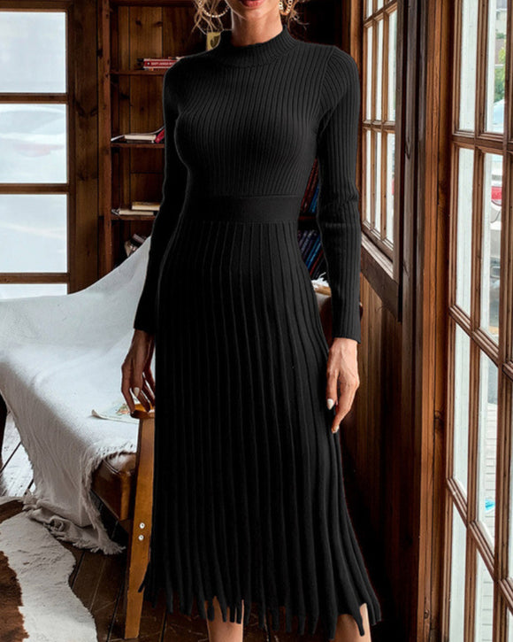 Knit Round Neck Long Sleeve Sweater Midi Dresses Black