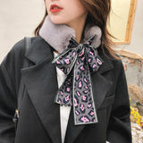Faux Rabbit Fur Plush Leopard Print Infinity Scarf for Women