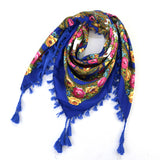 Ethnic Flower Print Square Scarf Shawl Fringed Scarves for Women Ladies Girls