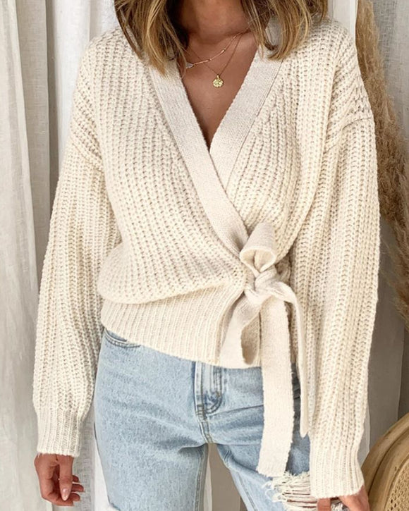 V-neck Lace-up Knit Apricot Lantern Sleeve Sweaters