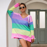Women's Loose V-neck Rainbow Stripes Long Sweater