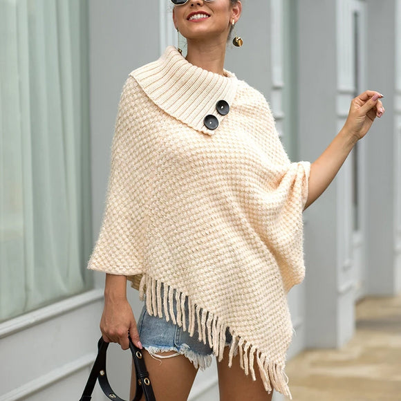 Tassel Fringed Cloak Shawl Button Collar Pullover Sweater Cape