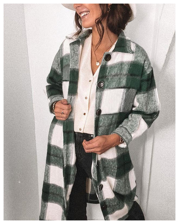 Contrast Single-breasted Plaid Coat Outerwear