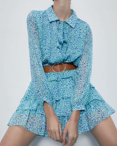 Ruffled Flounces Lace-up Pile Collar Pleated Belt Floral Mini Dress