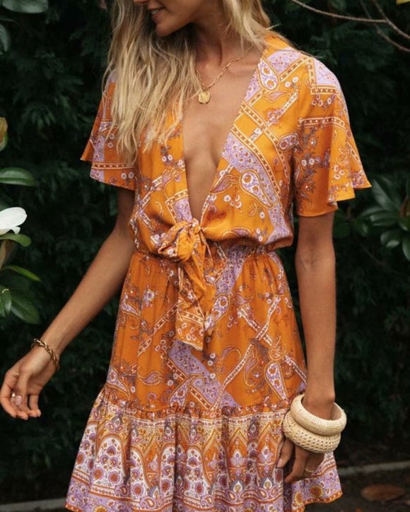 Boho V-neck Floral Flared Sleeve Lace-up Mini Dresses