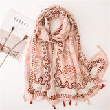 Ethnic Pink Tassel Printed Scarf Shawl for Women Ladies Girls
