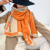 Colorblock Warm Scarf Cashmere Double-sided Thick Shawl Wrap for Women Ladies Girls