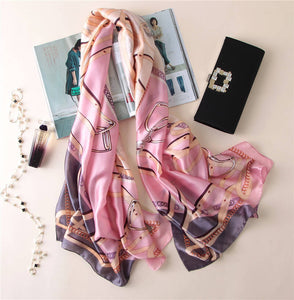 Lightweight Floral Silk Scarf for Women