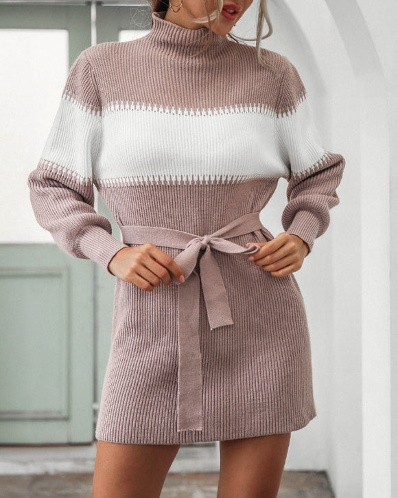 High Collar Lantern Sleeve Contrast Color Sweater Knit Mini Dress