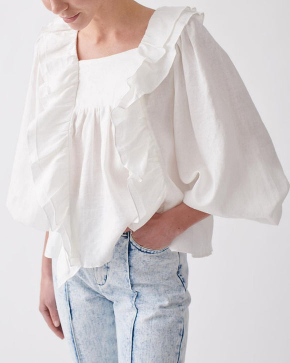 Square Collar Ruffled Lantern Sleeve Shirts Blouses
