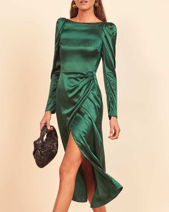 Silk Satin Puff Sleeve Slit Midi Dresses