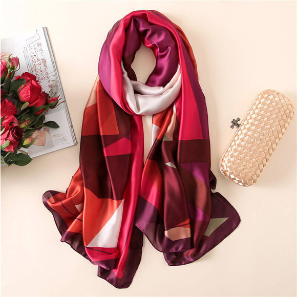Geometric Pattern Long Silk Scarf for Women